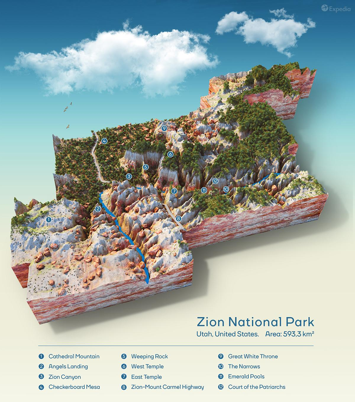 A topographic map of Zion National Park