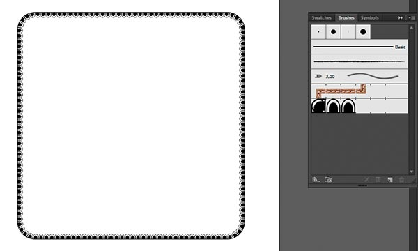 pattern brush applied to rounded rectangle