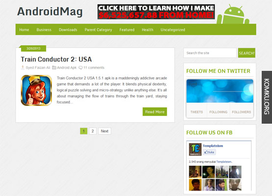 Android mag Blogger template