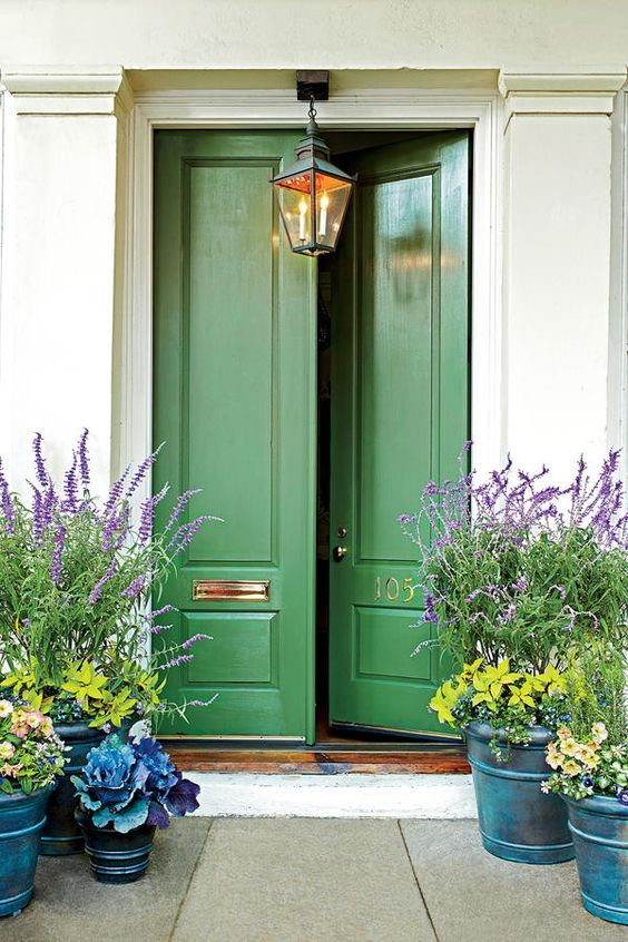 green front door, front entrance