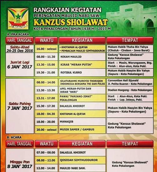 Rangkaian Kegiatan Peringatan Maulid Nabi SAW KANZUZ SHOLAWAT Pekalongan 8 Januari 2017