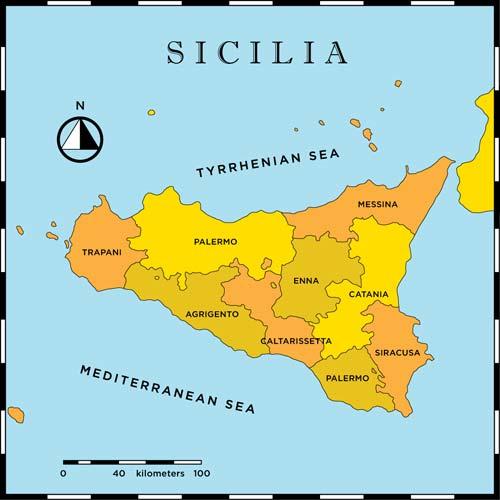 Cartina Politica Della Sicilia.Mappa Della Citta Di Provincia Regionale Italia Cartina