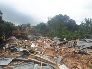 Photos: Lagos state police command demolish suspected Badoo shrine discovered in Ikorodu