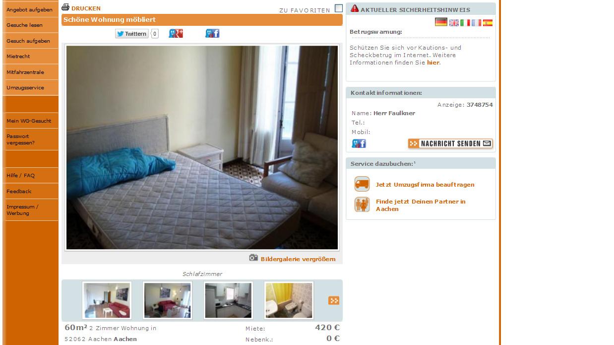 Aachen Wohnung Mieten  Zimmer