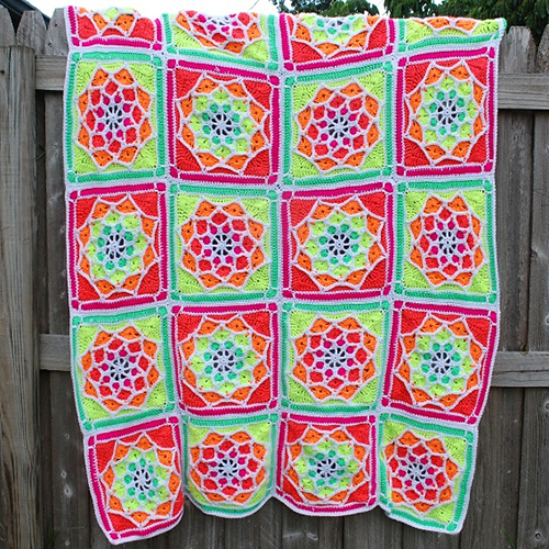 Sun Catcher Afghan Square free Crochet Pattern