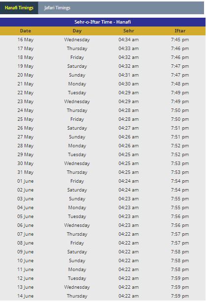 Algeria Ramadan calendar