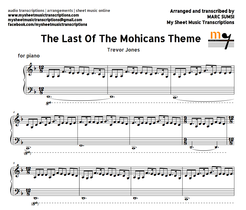 The Last of the Mohicans Theme (Trevor Jones) Sheet music