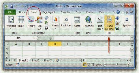 Features of MS Excel - Header and footer feature