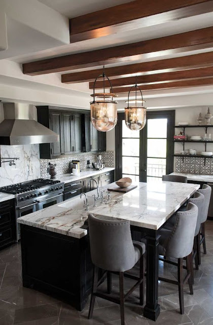 Black Kitchen Cabinets with white countertops and wood beams :: OrganizingMadeFun.com