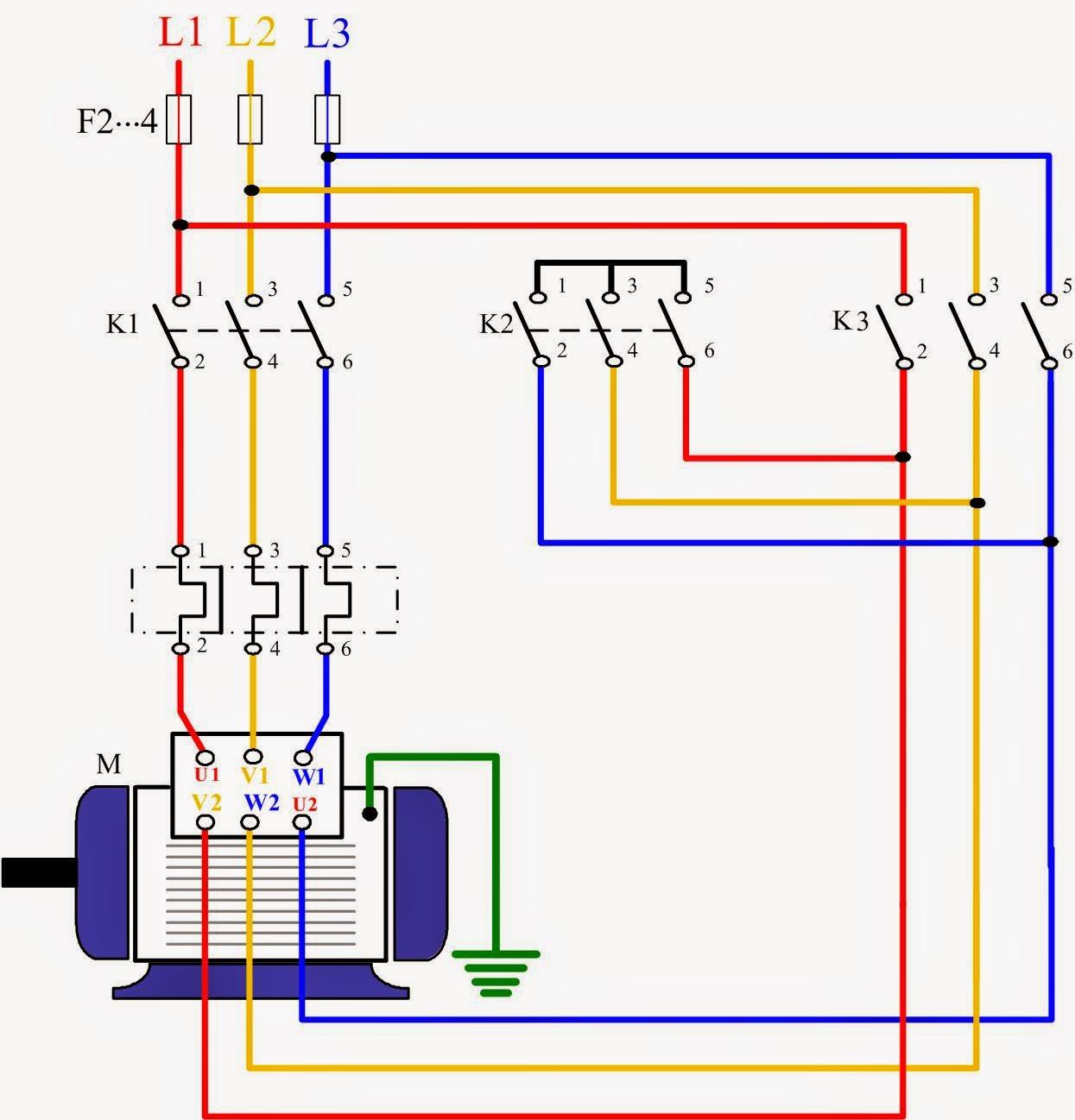 تشغيل محرك ثلاثي الأوجة نجمة / مثلث باستخدام المفاتيح المغناطيسية والضواغط