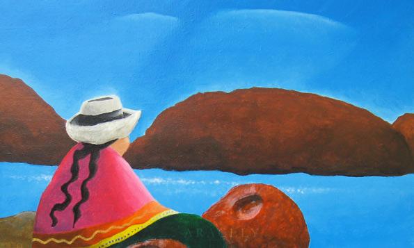 cuadro cholita peruana acrilico texturado