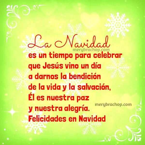 Mensajes cortos cristianos de Feliz Navidad, saludos para amigos y familia. Frases para saludar.en diciembre con tarjetas y palabras positivas por Mery BRacho.