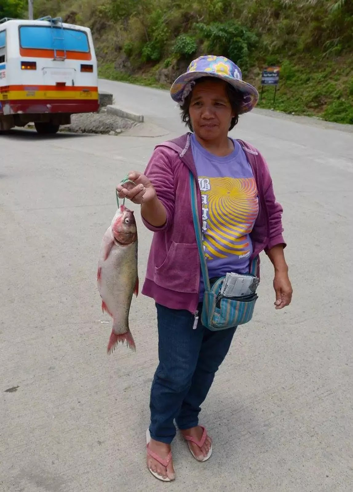 Gurel Bokod Benguet Cordillera Administrative Region Philippines NA Bus Liner Stop Over where Fish Hawkers Offer Fresh River Fish