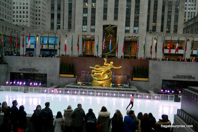 Nova York - Rinque de patinação do Rockefeller Center