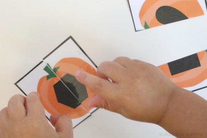 matching pumpkin shape puzzles