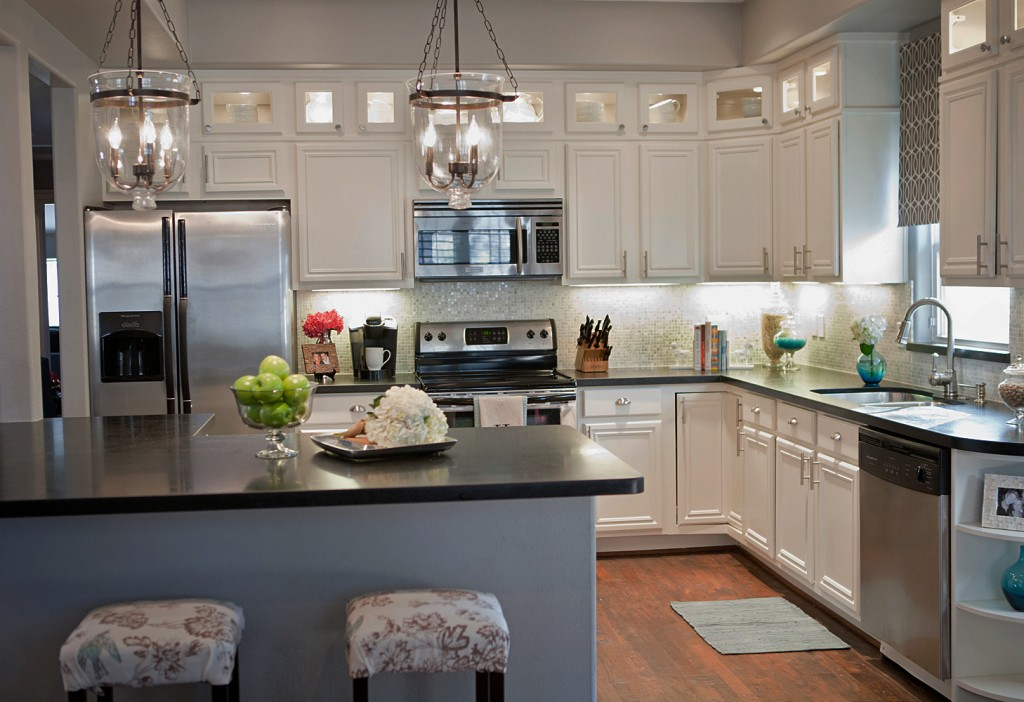 Remodelaholic Complete Kitchen Transformation White Cabinets - Grey and white kitchen decorating ideas