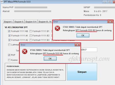 ETAX-50003 : Tidak Dapat Membentuk SPT. Kelengkapan SPT Formulir 1111 A1 Harus Dicentang.