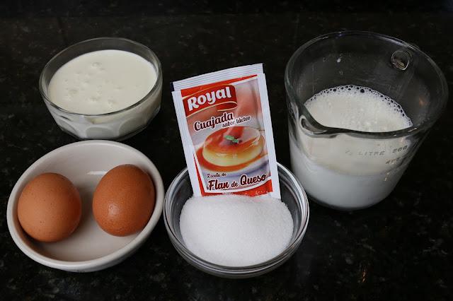 Ingredientes para postre de cuajada con flan