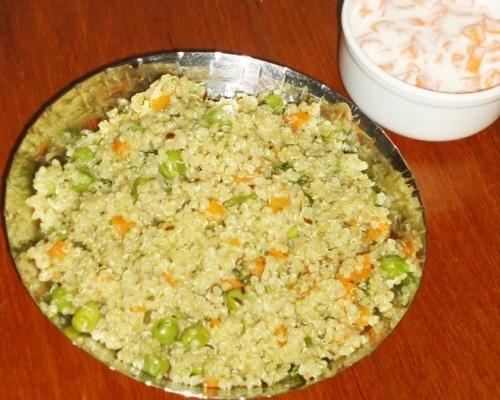 Quinoa pulao-quinoa pulav in a serving plate