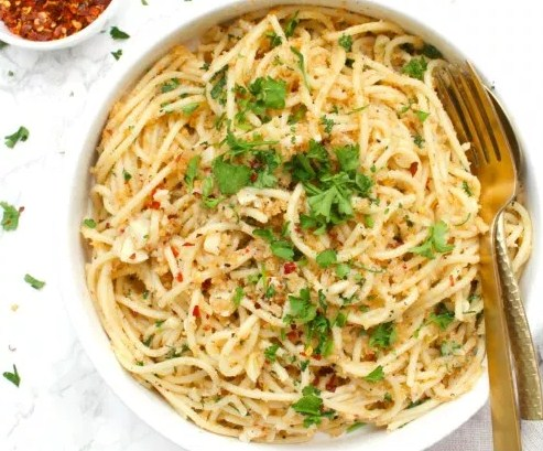Vegan Butter Garlic Noodles with Toasted Breadcrumbs