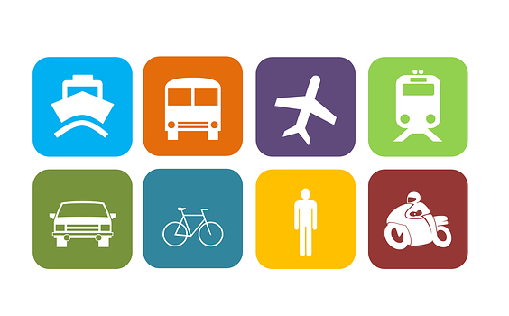 icons of a ship, a train, an aircraft, a car, a tram, a cycle, a bike and a man