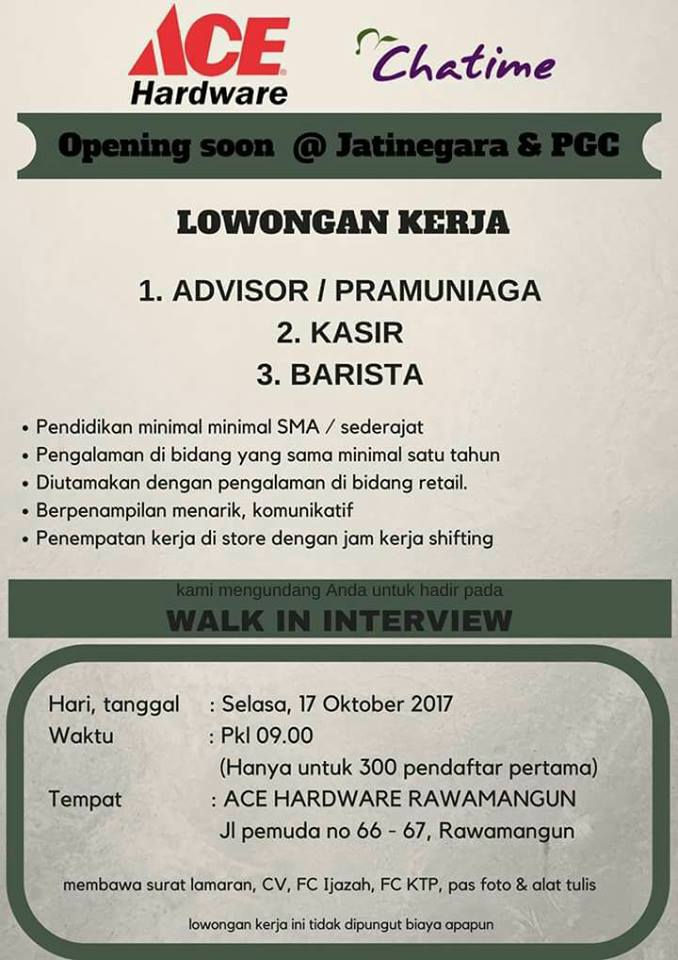 Lowongan Kerja ADVISOR/ PRAMUNIAGA - KASIR - BARISTA ( Bulan Oktober 2017 )