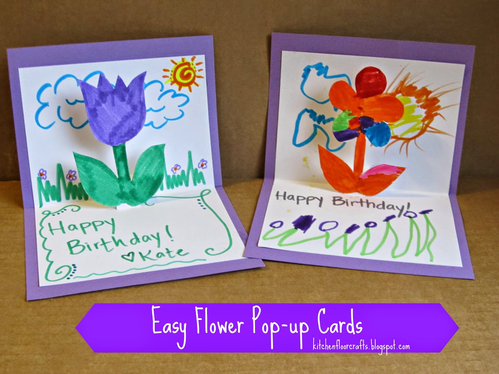 Kitchen floor crafts easy flower pop up cards for Pop up birthday cards for mom