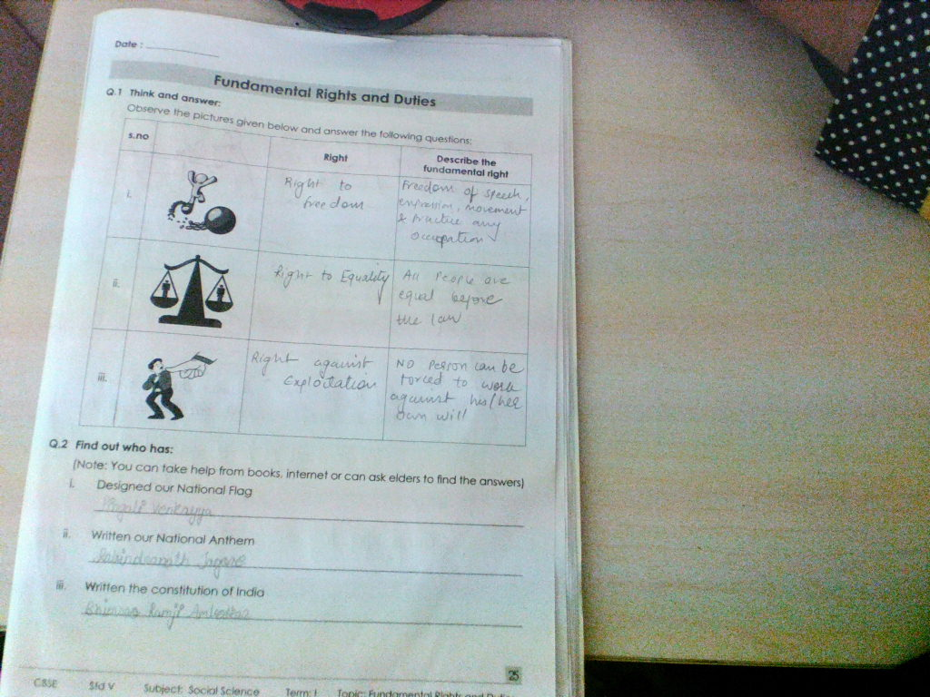 Pis Vadodara Std 5 Evs Ch 21 Fundamental Rights And Duties Worksheet