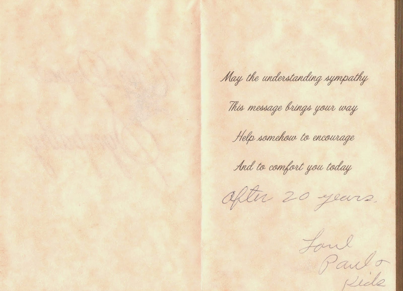 Graveyard Rabbit of Sandusky Bay: Dad's Sympathy Card to Mom