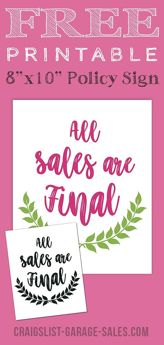 Free Printables Cute Quot All Sales Are Final Quot Signs