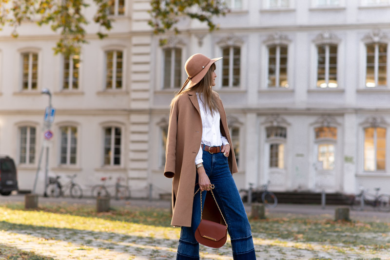 camel coat outfit idea