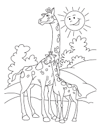 Images Baby Giraffe Familly Coloring Pages At Zoo