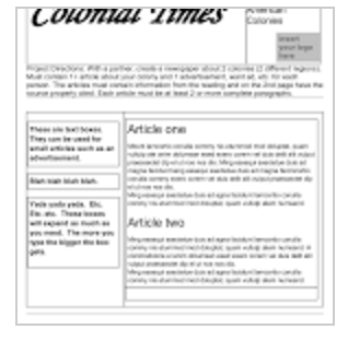 newspaper format for students to create a colonial newspaper