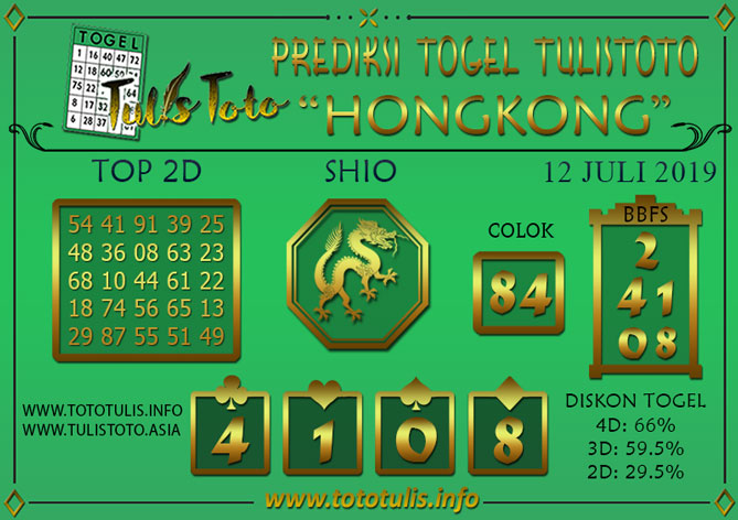 Prediksi Togel HONGKONG TULISTOTO 12 JULI 2019