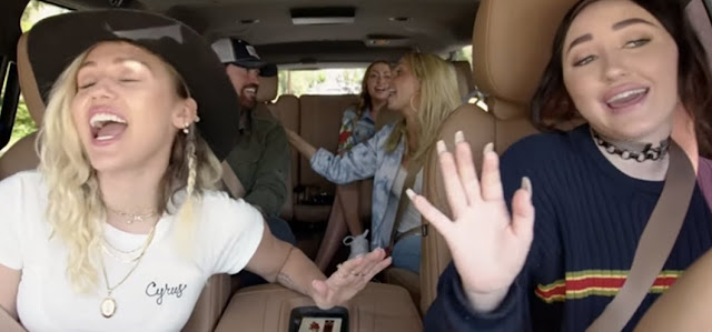 Miley Cyrus with her family Billy Ray Cyrus, Noah Cyrus, mother enjoying in Carpool Karaoke Series Still Image