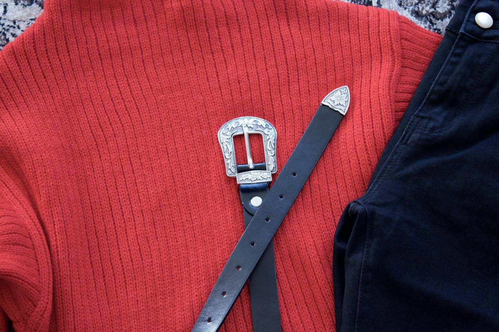 Vintage Buckle Wide Belt - Silver