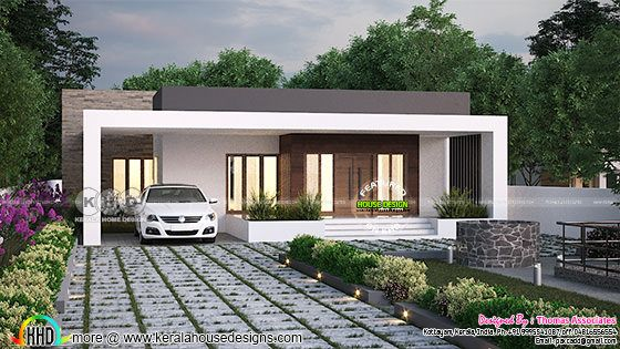 Modern box type single floor house