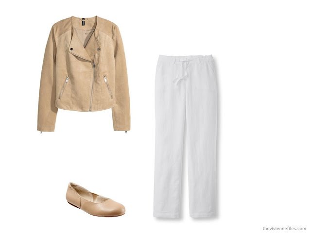What Women were Wearing in Paris, Spring 2016 - tan jacket and white pants