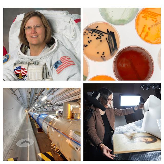 Eine Collage von Bildern einer Astronautin