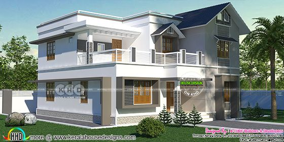2285 square feet, 4 BHK home in mixed roof style