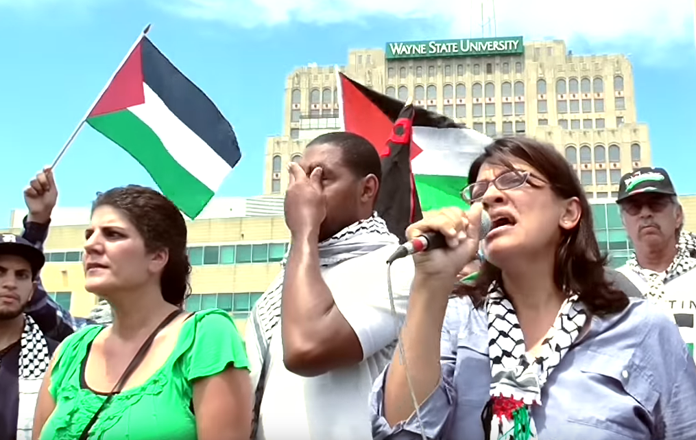 Image result for rashida tlaib at anti-Israel protest in 2014