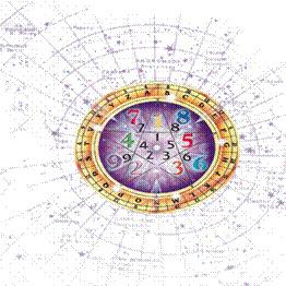 Imagen de números dentro de un mundo rodeado de constelaciones