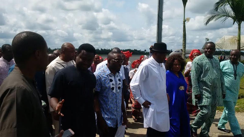 Photos: Goodluck and Patience Jonathan arrive Port Harcourt