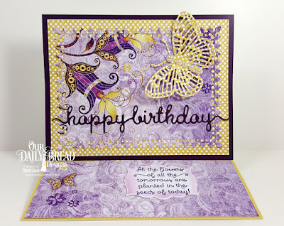 Stamp Set: Seeds of Today, Paper Collections: Plum Pizzazz, Whimsical Wildflowers, Custom Dies: Happy Birthday Script, Lavish Layers, Pierced Rectangles, Mini Labels, Fancy Fritillary