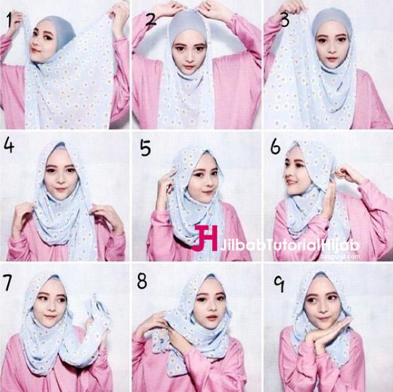 Kumpulan Gambar Tutorial Cara Memakai Hijab Modern Lucu