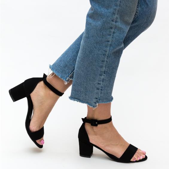 Sandale dama casual negre cu toc mic gros ieftine pentru vara