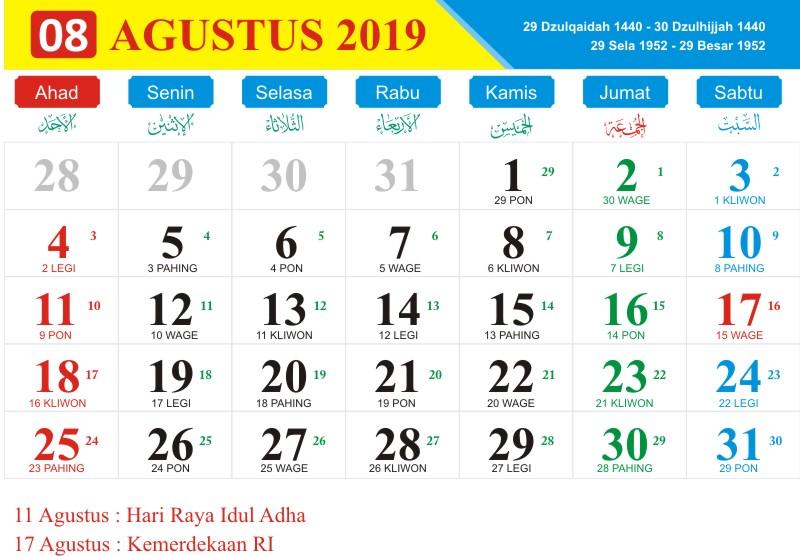 Kalender jawa agustus 2019