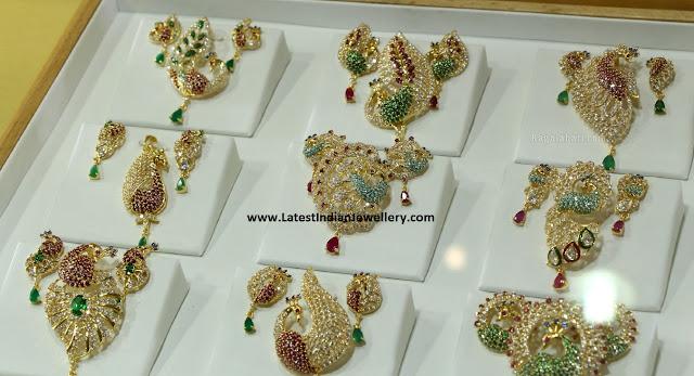latest peacock pendant sets