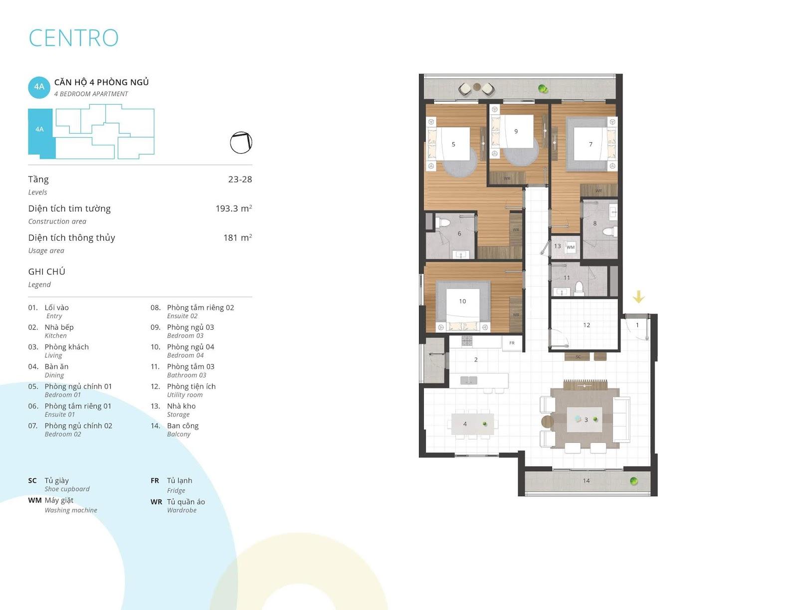 Mặt bằng căn hộ 4 phòng ngủ 181 m2 thông thủy tòa CENTRO