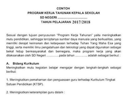Program Kerja Tahunan Kepala Sekolah SD,SM,SMA Terbaru 2017/2018